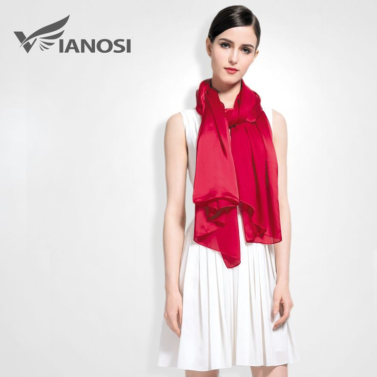 [VIANOSI]  100% Silk Scarf Women Luxury Solid Soft Shawls and Scarves Brand Large Foulard femme Fashion Accessories VA017