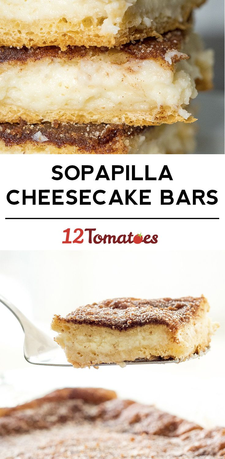 Sopapilla Cheesecake Bars. (Can add a can of cherry pie filling on top of the cheesecake filling. No need to bake the first layer, first)