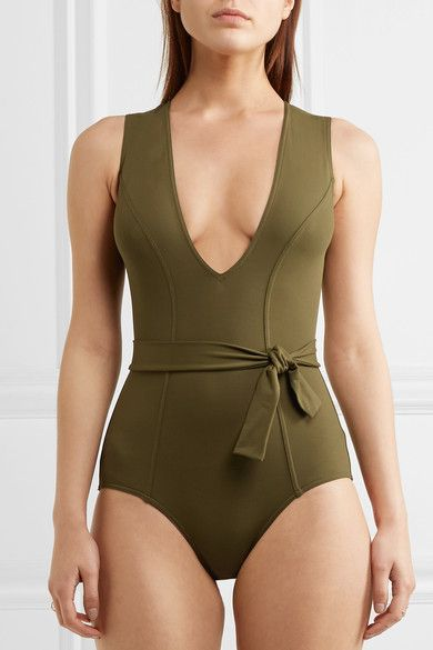 Army-green stretch-polyamide Pulls on 77% polyamide, 23% spandex Machine wash Lotion, sunscreen, oil and chlorine can cause discoloration of this item; this is not a manufacturing defect. Please follow care instructions to keep your swimwear in the best condition Made in Italy