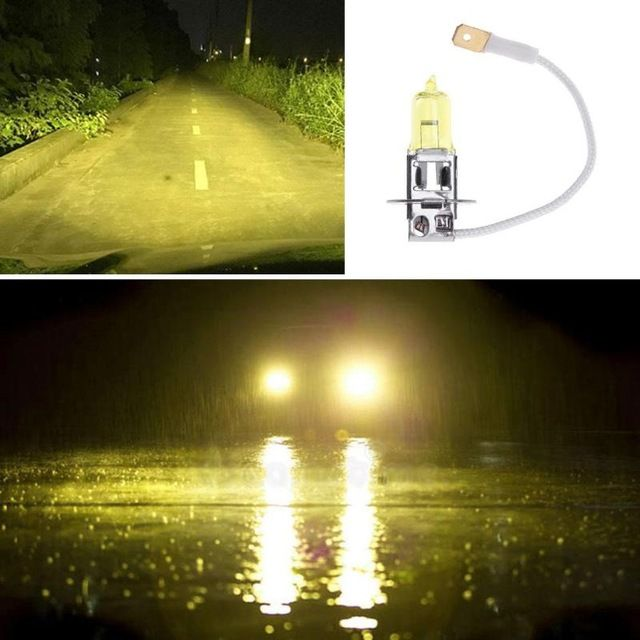 H3 12v 55w 3000k Yellow Quartz Glass Tube Auto Car Xenon Head Lamp Automobiles Halogen Fog Light Bulb Headlight Headlamp Revi Headlamp Yellow Quartz Headlights