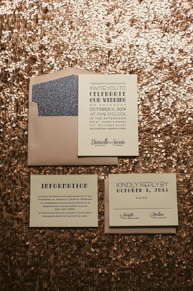 Pink and grey wedding invitations, glitter wedding invitations, letterpress wedding invitations, art deco wedding invitations. mauve