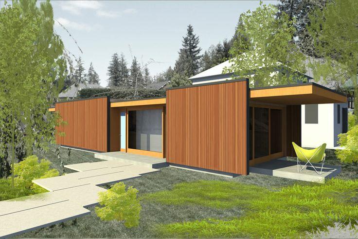 Mod fab 800 adu from lindal cedar homes by the frank for Frank lloyd wright modular homes
