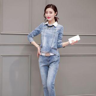 Set: Sleeveless Blouse + Denim Long-Sleeve Top + Jeans