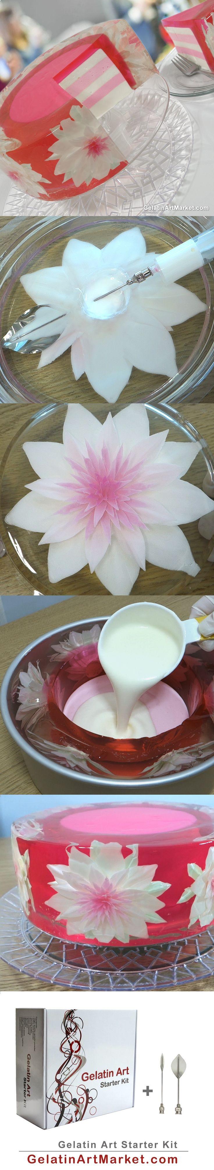 Learn how to make a beautiful pink Gelatin Art Cake. GelatinArtMarket.com