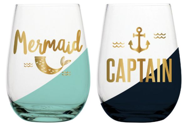 Calling all Mermaids! Grab this ADORABLE wine glass set for you and your captain, too! Set of 2 20 oz. stemless wine glasses