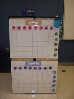 homework bingo - If they turn in their homework for that morning they get to write their name on any square. On friday's I will pull out two bingo chips...and whatever names are on that square they will be able to pick out of the treasure box.