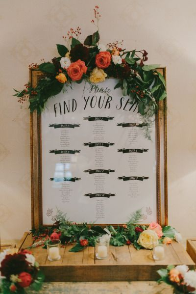 Beautiful seating sign: http://www.stylemepretty.com/new-hampshire-weddings/2015/04/01/romantic-fall-wedding-at-the-bedford-village-inn/ | Photography: Emily Delamater - http://emilydelamater.com/