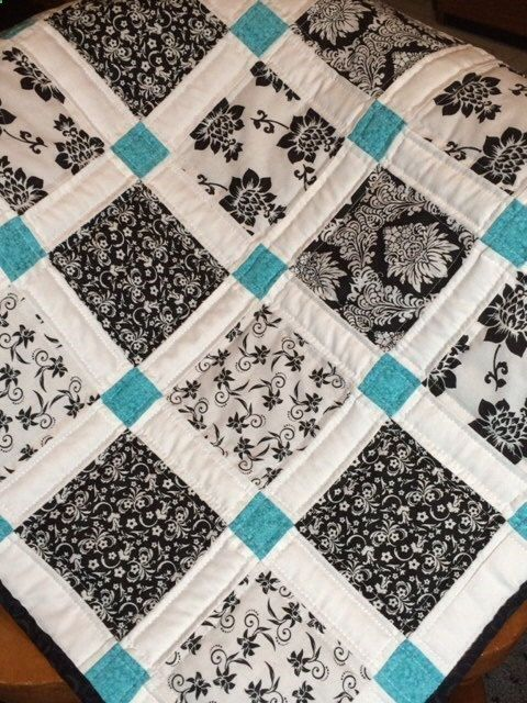 Black, White and Teal Baby Quilt By AllAboutTheDetail