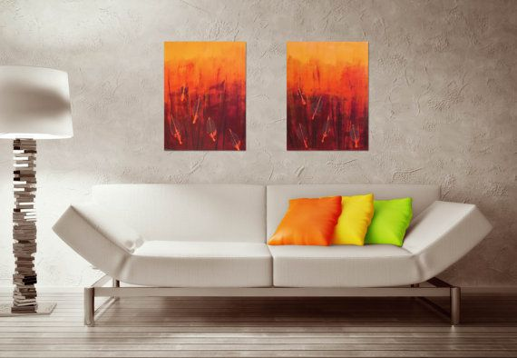 Fiery Leaves I & II Set of 2 Abstract Acrylic by CGCFineArts