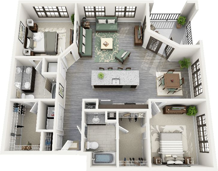50 Two 2 Bedroom Apartment House Plans Floorplans Pinterest