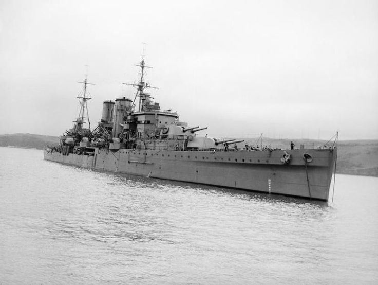 "HMS Exeter after refit in 1941. This heavy cruiser, one of only two ""York Class"" heavy cruisers built, suffered major damage in the Battle of the Rio Plata against the German pocket battleship, Admiral Graf Spee. Lest we forget: 61 RN officers and ratings were killed aboard HMS Exeter during that battle. Photo courtesy of Imperial War Museum posted by Charles McCain"