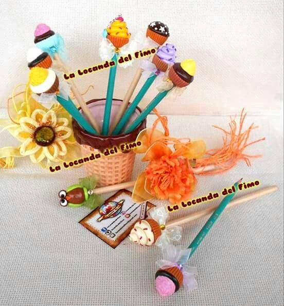 pencil fimo, matite in fimo, cupcake , muffin , owl