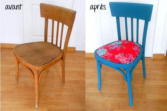 Une vieille chaise complètement transformée.