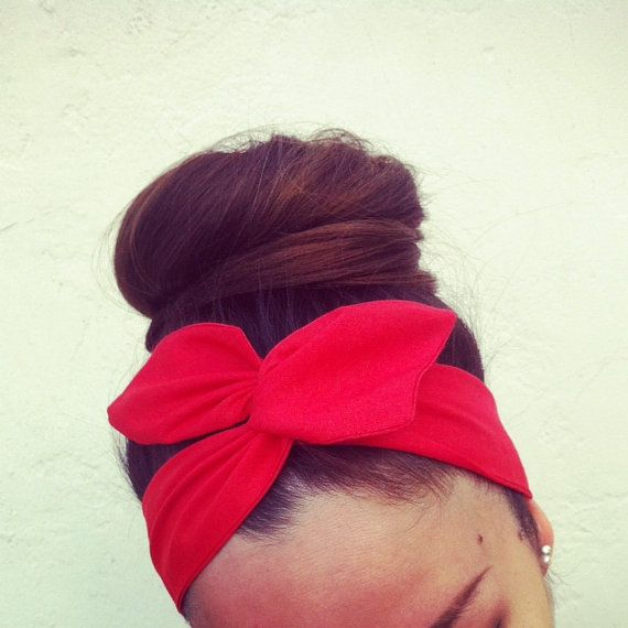 Vibrant Rosy Red Dolly Bow Headband