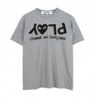 COMME DES GARÇONS PLAY UPSIDE DOWN PLAY T-SHIRT. Grey. £79.00