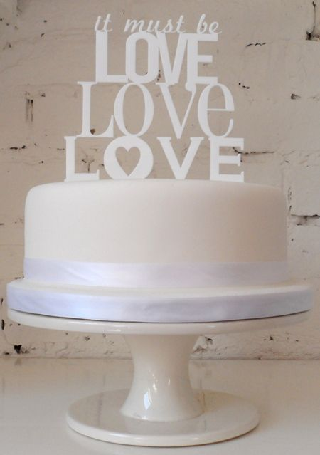 It Must Be Love Cake Topper -- simple and fun!