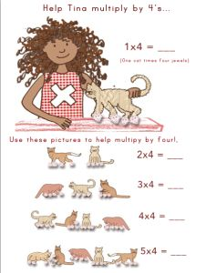 Multiply by fours with this cute visual with cats!