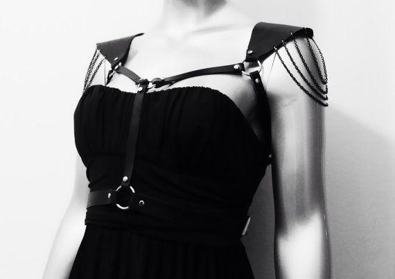 Epaulet shoulder strap Black Leather Harness Belt women harness steampunk edgy avant-garde