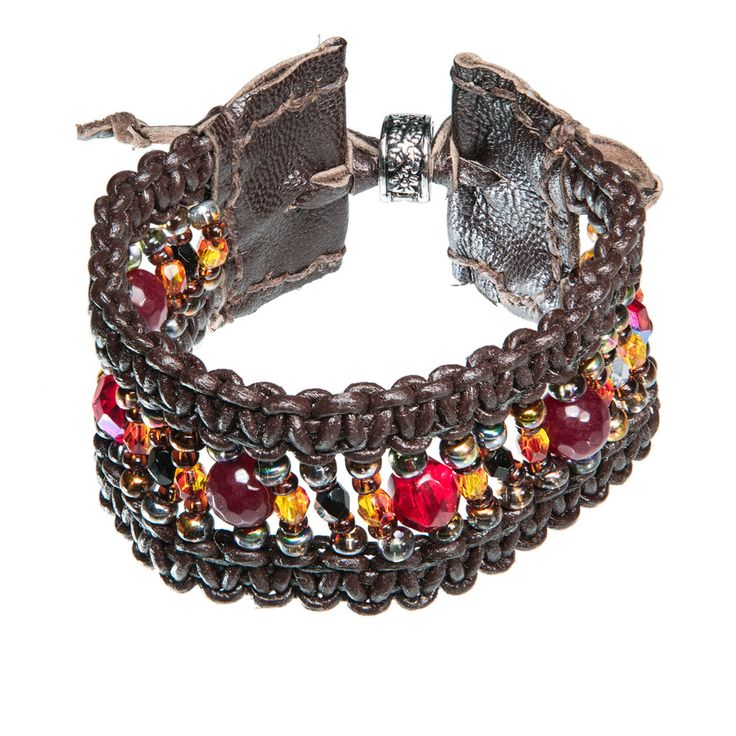 Wide brown leather bracelet with red and yellow glass beads