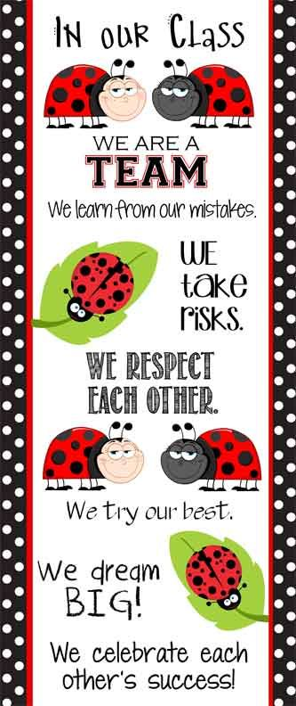 LADY BUG Theme Classroom Decor / Character Education Banner / Large / Character Counts / JPEG / ARTrageous FUN