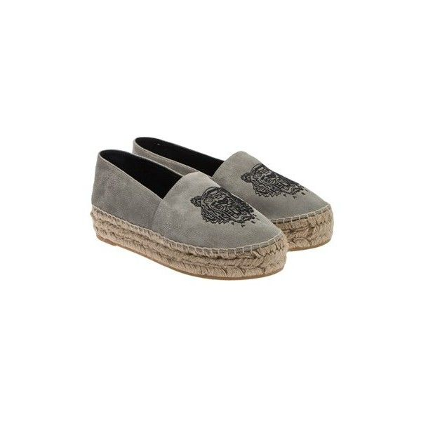Kenzo Espadrilles (2 615 SEK) ❤ liked on Polyvore featuring shoes, sandals, grey, grey espadrilles, leather espadrille sandals, grey leather sandals, leather sandals and espadrille sandals