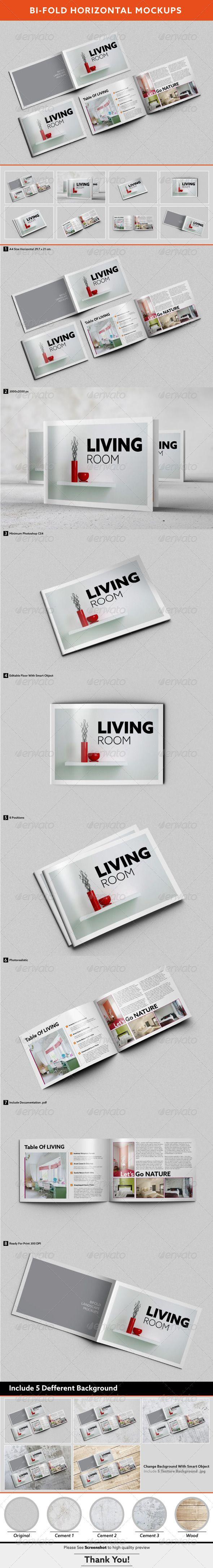 Bi-fold Horizontal Brochure Mockups - Brochures Print