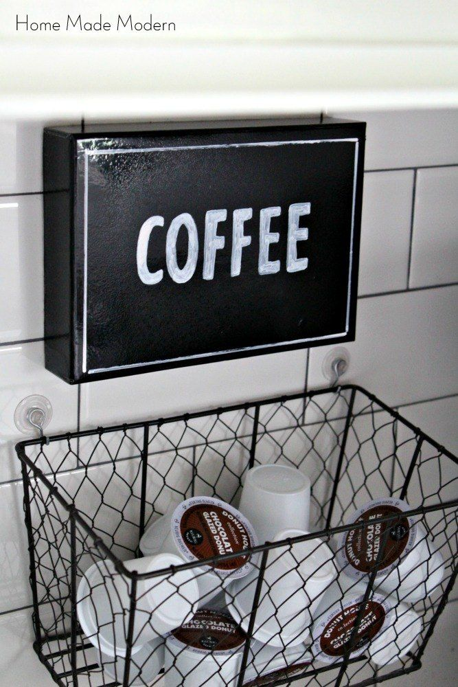 Spruced Up Coffee Station and Hanging K-Cup Holder