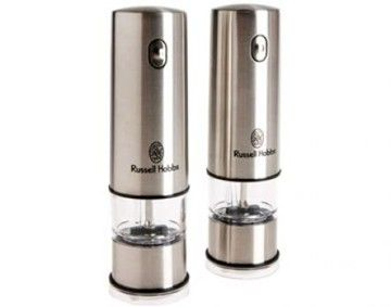 Features/Specifications Product code: 12051-56 Salt & pepper grinders - twin pack Ceramic grinding system One button system Fully adjustable for fine or coarse grinding Light illuminates area of grinding when operation button is pressed Power: 4 x 1.5v AA size batteries - not included Salt & pepper not included