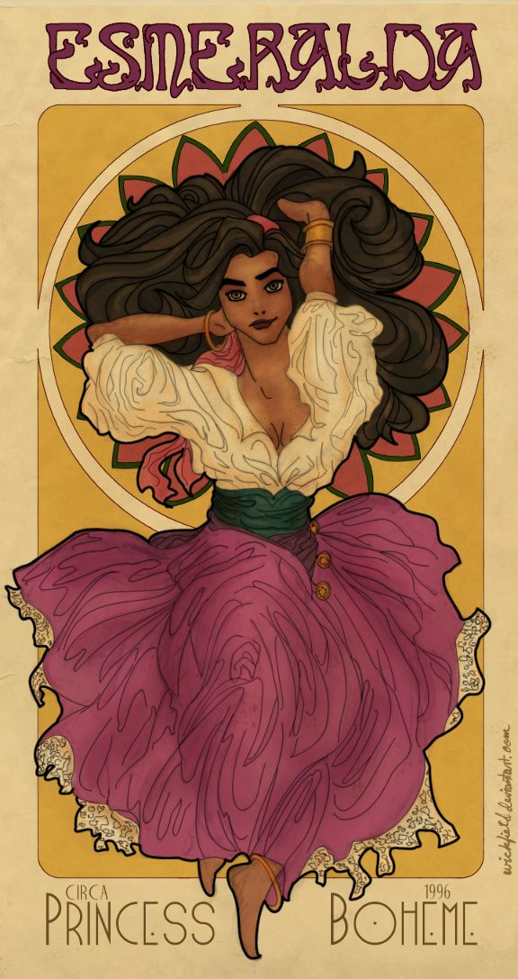 Disney Art Nouveau: Esmeralda by *Wickfield on deviantART - THE ART HISTORY GEEK IN ME IS DOING CARTWHEELS RIGHT NOW <3 <3 <3