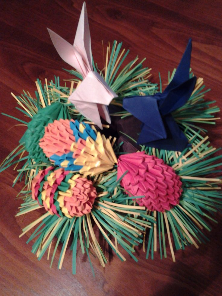 Origami Easter bunnies and eggs