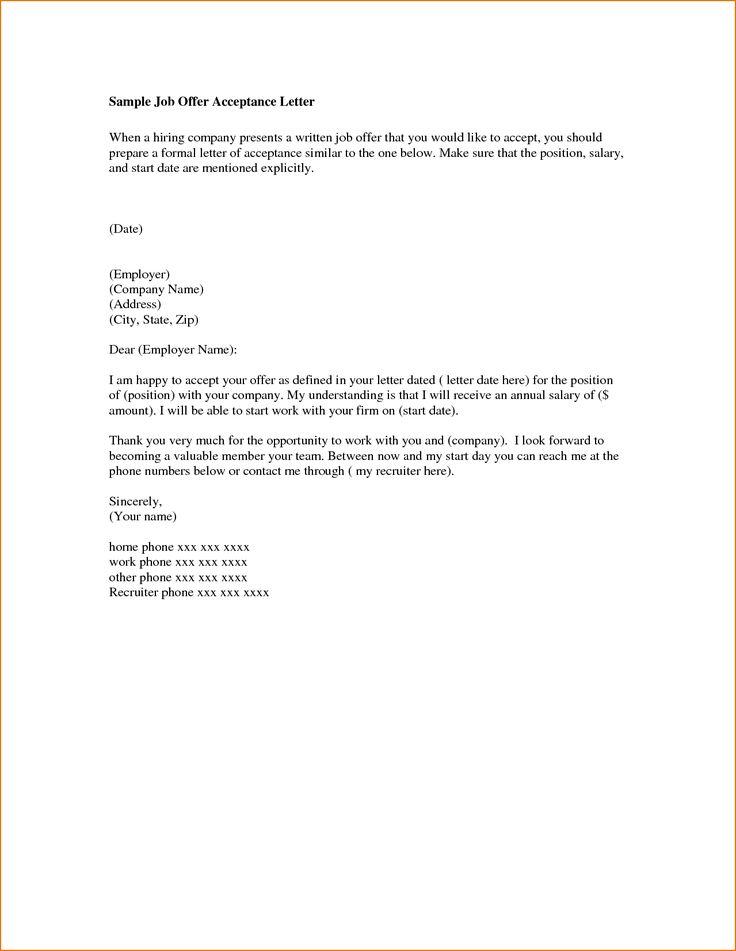 Letter Of Employment Acceptance Acceptance Letter Sample Acceptance Letter Format Job Offer Acceptance Letter Sample From Employer Cover Letter