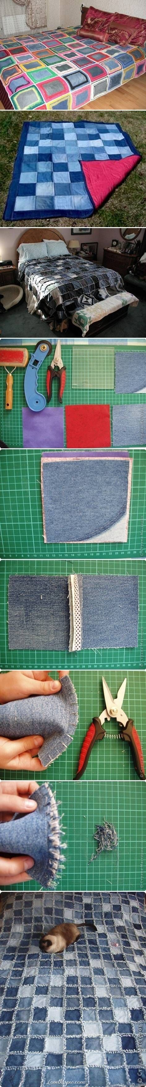 "DIY Denim Blanket - totally going to ""borrow"" moms sewing machine one day and this will be one of my first projects :) and then a tshirt quilt :)"