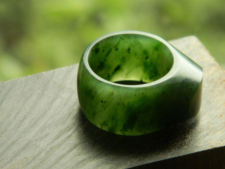 Jade Ring , Yukon, Canadian Jade.  Carved by Aaron Brown