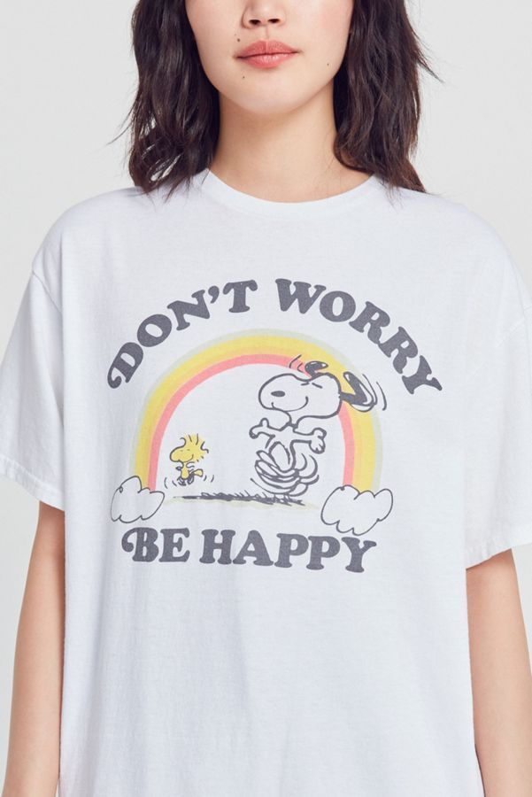 92f84856 JUNK FOOD S/S Crew Oversize Dont Worry Be Happy Snoopy Tee Shirt Top White  M $42 #JunkFood #Tee #Casual