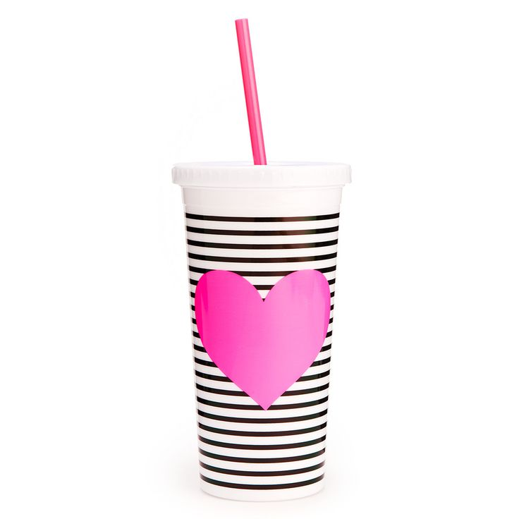 ban.do sip sip tumbler with straw - black/white stripe with ne