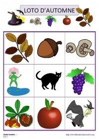 Lotos d'automne en images Deux jeux de loto (15 images ou 30 images) sur le thème de l'automne (fruits d'automne, Halloween, sorcières, arbres et feuilles...)
