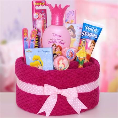 Disney Princess Towel Cake (Girls) -   Make a towel basket out of a bath towel, include toiletries from a particular theme, tie a pretty ribbon around the towel and you have a creative gift.    Another option is to wrap in cellophane with a bow on top.