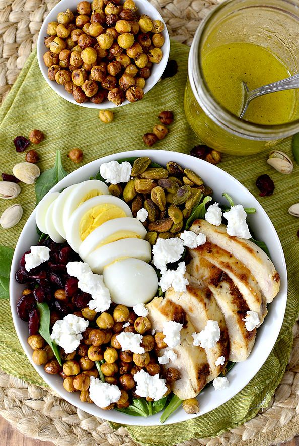 Chicken Power Bowls with Crispy Baked Garbanzo Beans #salad #copycat | iowagirleats.com