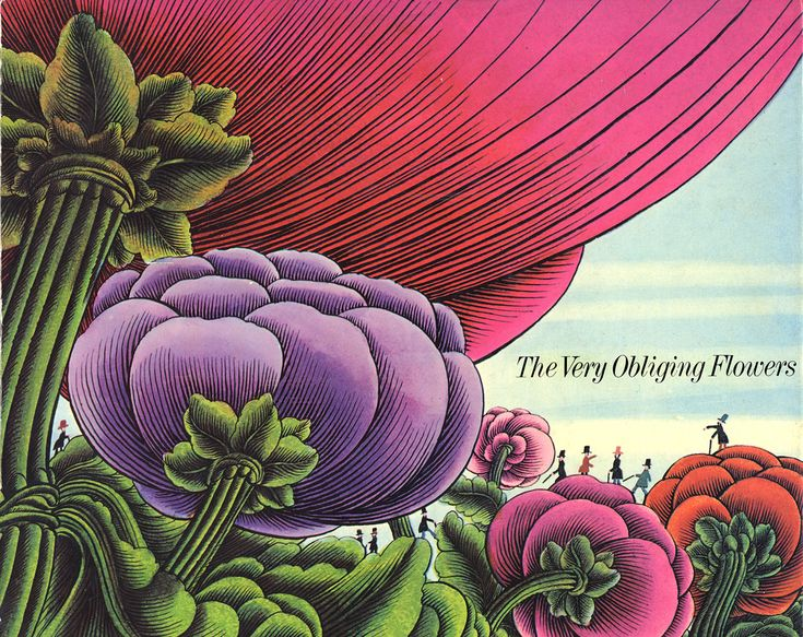 1968 •~• vintage book, The Very Obliging Flowers, illustrations by Alain Le Foll,  Written by Claude Roy, Translated by Gerald Bertin, Grove Press