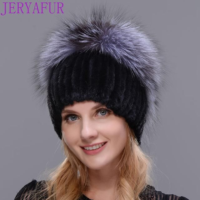 2017 new mink hat handmade stitching texture winter woman's skis hat fur hooded hat silver fox fur knitted warm high quality fur