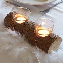 Photophore en verre support bois mariage rustique