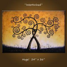 Original gran pintura abstracta de árboles por AmyGiacomelli