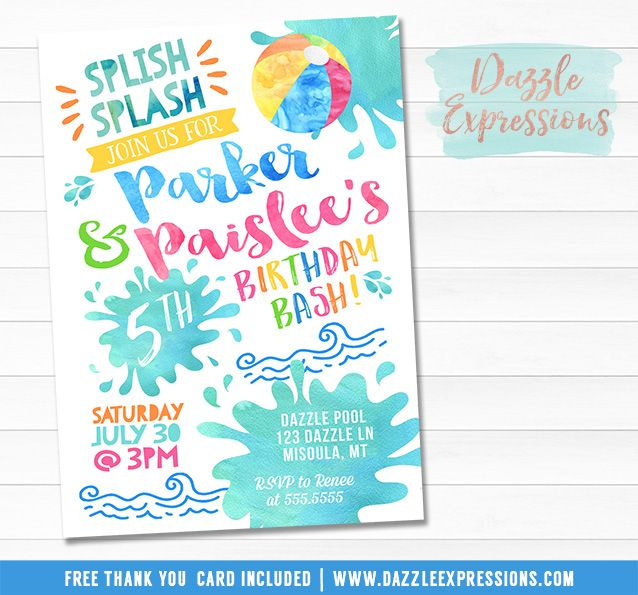 pool party invitation templates free download birthday party