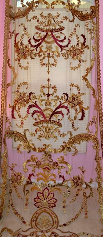 Italian EMBROIDERED Velvet Fabric SHEER Drapes Panel Burgundy Gold