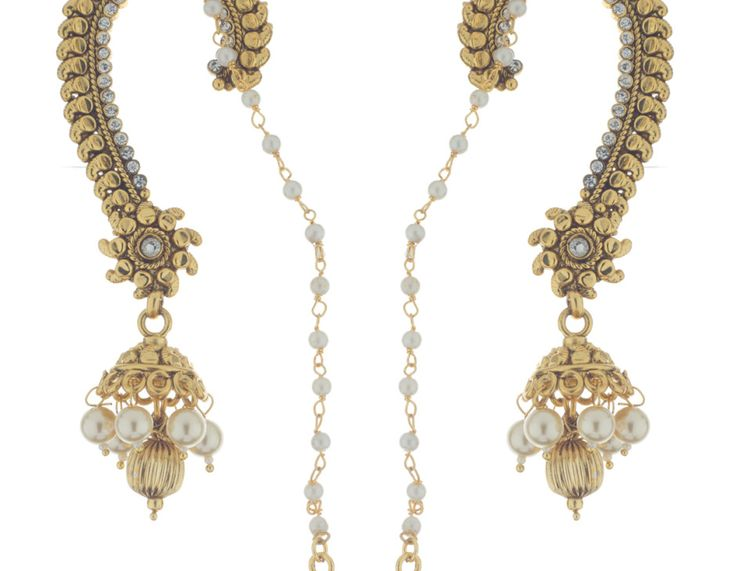 Exclusive #Polki #jhumka earrings design that loops across the ear and pins to the hair. Now it's easy to be the perfect Indian damsel!