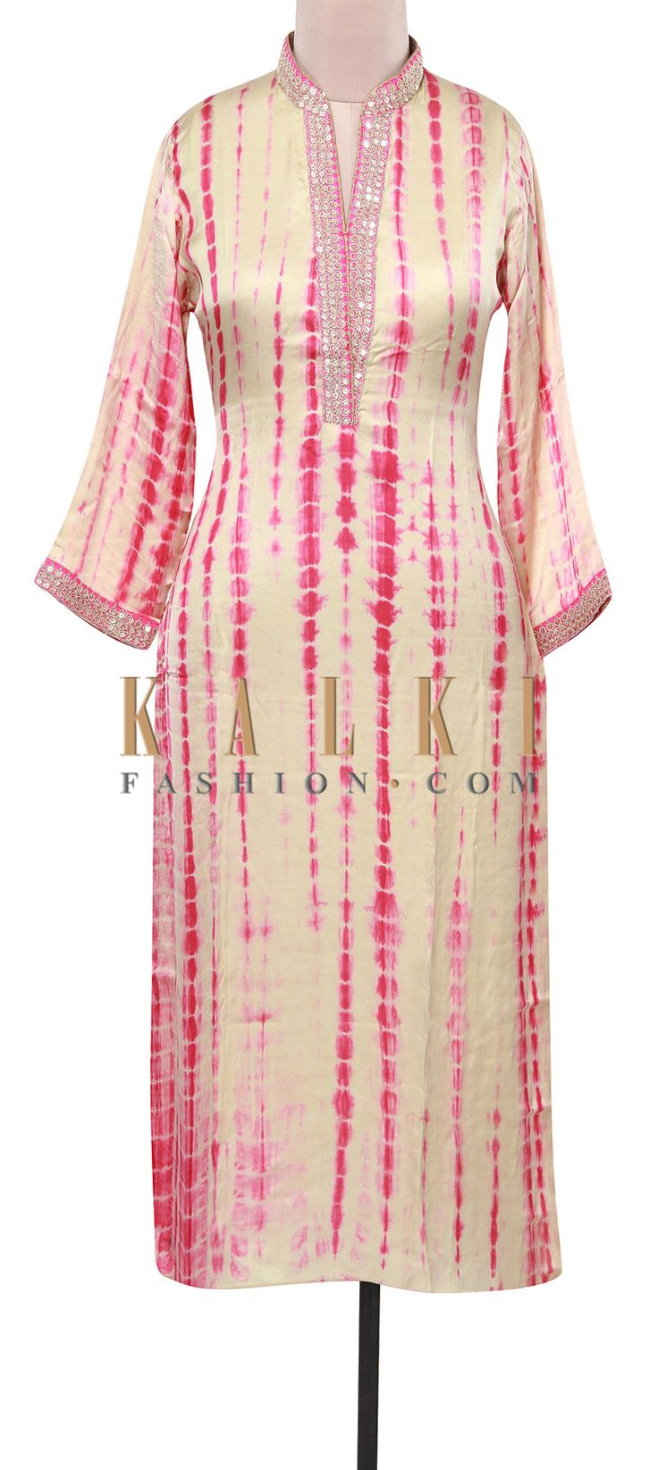Buy Online from the link below. We ship worldwide (Free Shipping over US$100). Product SKU - 309136.Product Link - http://www.kalkifashion.com/cream-and-pink-tie-and-dye-kurti-adorn-in-zari-and-sequin-embroidery-only-on-kalki.html
