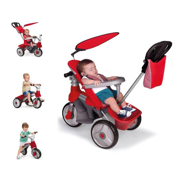 Ce tricycle Baby Trike Easy Evolution 4 en 1 en métal accompagne l'enfant de ses 6 mois à ses 5 ans. Il est une poussette, puis un porteur, avant de se transformer en tricycle et en draisienne. Quand il est configuré en poussette, le petit enfant est face à l'adulte. Le siège est inclinable. Les repose-pieds, le harnais et la protection ventrale avec jeux sonores et lumineux assurent confort et sécurité. Le bébé se laisse pousser grâce à la canne directionnelle réglable en hauteur. Puis, le…