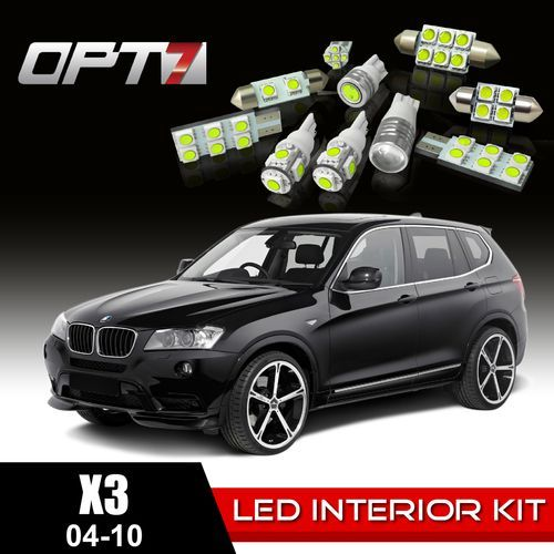 16pc Interior LED Replacement Light Bulbs Package Set for 04-10 BMW X3 CanBus | White