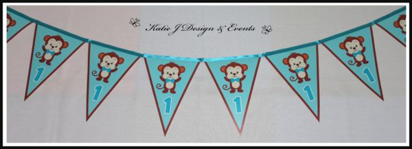 Pennant Banner Bunting #Cheeky Monkey #Jungle #Animals #Fisher #Price #Boy #Birthday #Blue #Party #Decorations #Ideas #Banners #Cupcakes #WallDisplay #PopTop #JuiceLabels #PartyBags #Invites #KatieJDesignAndEvents #Personalised #Creative #Kids #Bunting