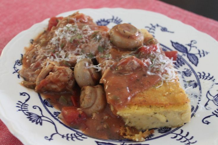 Chicken Cacciatore with Herbed Polenta -- pantry ingredients